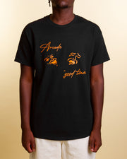 Arcade takes a playful approach with this black cotton tee, decorating it with an orange screenprint to the centre chest. Comfortable and cosy, this tee is fitted with a ribbed neckline and constructed from pure cotton.