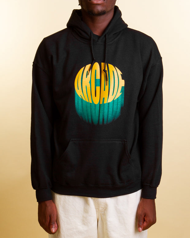 Arcade brings bold branding with the Outburst Hoodie in black. This black cotton-rich jersey is cut with a relaxed silhouette and printed with a logo design in yellow and green on the centre chest. Featuring a comfortable drawstring hood and kangaroo pocket, this pullover is ready to keep you snug on the colder days.