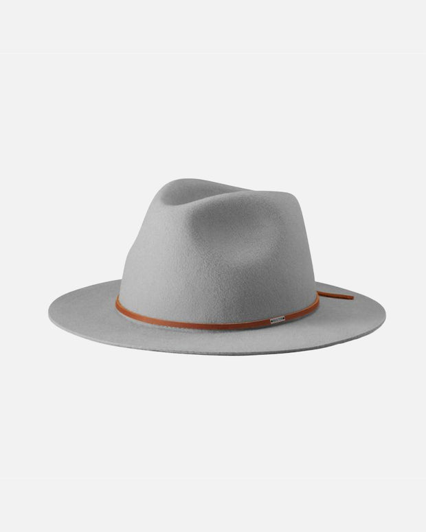 The Brixton Wesley Fedora Hat in Grey is a grey fedora which features a small brown genuine leather strap detail.