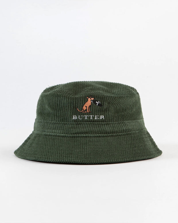 The Butter Goods Digger Corduroy Bucket Hat in leaf is a go-to daily piece. Adding some spice to every outfit, this bucket hat is constructed from 100% cotton corduroy and features an embroidered Butter logo and emblem on the front. Signed off with an adjustable hiking cord for added comfort.