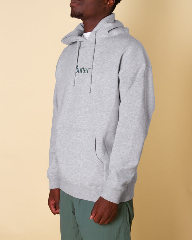 Butter Goods brings simple style with the Speckle Classic Logo Pullover Hoodie in Heather Grey. Cut from heavy-weight cotton fleece and featuring the Butter keyline logo at the front, this hoodie is signed off with a drawstring hood, kangaroo pocket and ribbed trims.
