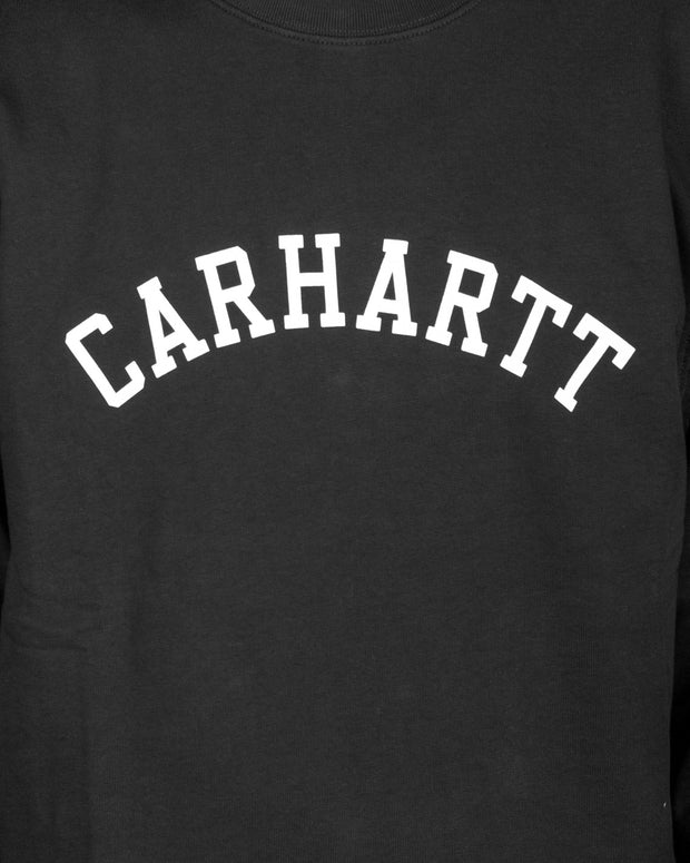 Simple and slick, the Carhartt University Sweatshirt in Black features a simple Carhartt logo in a varsity style font printed on the chest in white. Constructed using premium cotton and finished with ribbed cuffs and hems, this black crewneck is ready to roll this winter.