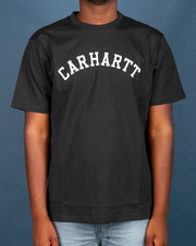 The Carhartt University Tee in Black features an arched Carhartt team logo printed in white on the front. Cut from premium cotton and finished with a comfortable ribbed neckline. This short-sleeved tee is perfect for layering with a jacket and bringing simplicity and classic to any outfit.