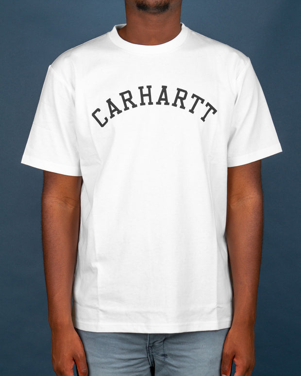 The Carhartt University T-Shirt in white is a timeless streetwear piece. A regular fitting short-sleeve tee made from 100% cotton and finished with a comfortable ribbed neckline. Pair it with a pair of blue Ksubi Chitch denim for a classic look.