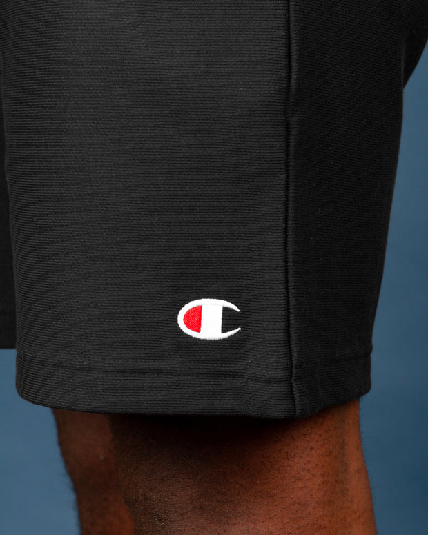 The latest from Champion is the Reverse Weave Terry Short in Black. Constructed with the signature reverse weave knitting technique, these shorts are durable, comfortable and fresh. Perfect for lounging around the house or throwing on for some city strolls. These black shorts are signed off with the C logo embroidery on the leg.