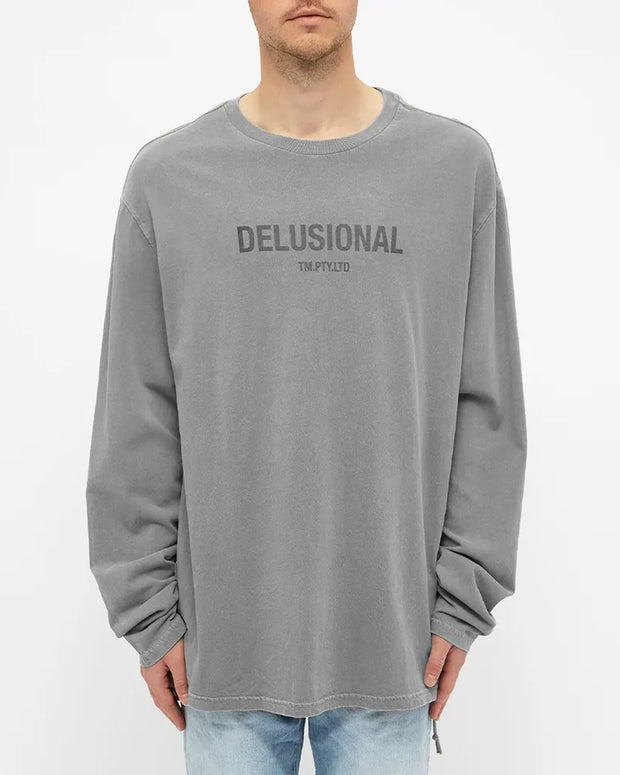 Delusional L/S Tee - Faded Grey