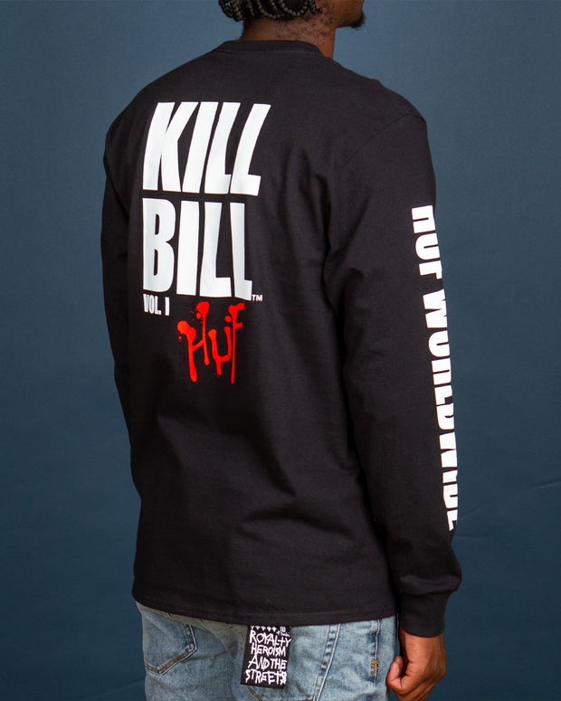 Constructed from pure cotton, the HUF x Kill Bill Black Mamba Longsleeve t-shirt features a custom HUF x Kill Bill artwork printed on the front, back and sleeves. A simple staple with popping graphics, this long-sleeve will have heads turning.