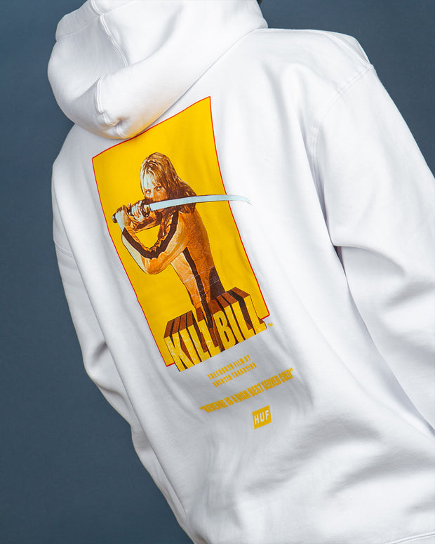 Constructed for everyday wear, the Bride Pullover Hoodie comes with the latest collaboration range HUF x Kill Bill. This white hoodie is constructed on a heavyweight fleece and features a small printed logo at the front along with a Kill Bill graphic at the back. Signed off with a kangaroo pocket, spacious hood and woven labels.