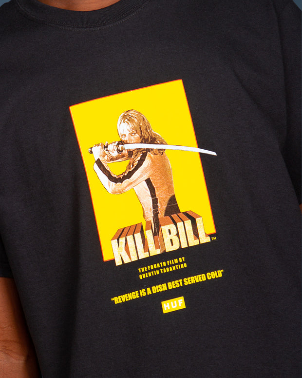 "The HUF x Kill Bill Bride Tee in black is a comfortable and classic short-sleeve t-shirt constructed from premium cotton. This basic staple features a simple Kill Bill graphic printed to the front with the films opening quote, ""Revenge is a dish best served cold"". Signed off with the custom HUF x Kill Bill woven label at the interior neck and premium trims."