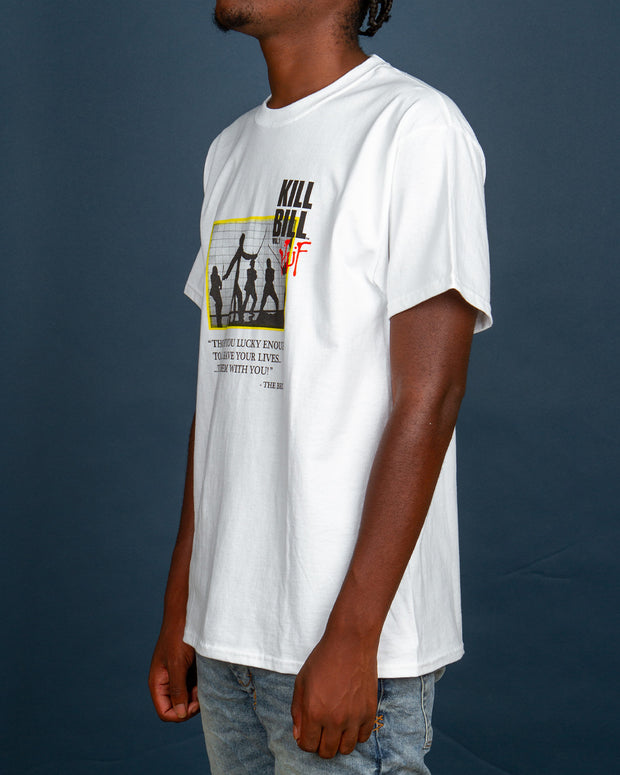 "The HUF x Kill Bill Death List Tee in white is a short-sleeve staple, made from 100% pre-shrunk cotton. Featuring an iconic film still printed at the front, contrasted with the infamous ""Death List Five"" printed at the back. This t-shirt is for all you Tarantino lovers, one which keeps your fits looking and feeling classic."