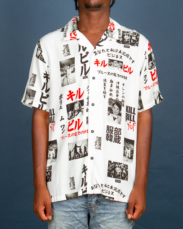 Composed of film stills from Kill Bill's most iconic scenes, the Huf x Kill Bill woven shirt in white is constructed from premium rayon, a light a breezy style with a vintage feel. Featuring a convertible collar and an easy button up front, this shirt is signed off with a HUF x Kill Bill woven label at the interior neck.