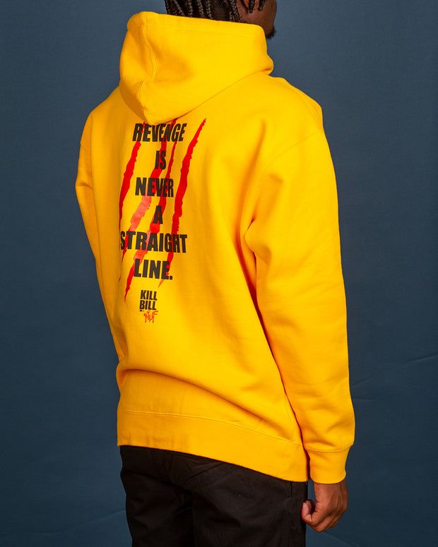 "Bring some colour into your wardrobe with the HUF x Kill Bill Revenge Pullover Hoodie in yellow. Constructed on a heavyweight fleece, this hoodie features an iconic still of Kill Bill printed on the front along with a famous film quote: ""Revenge is never a straight line."" printed on the back. A hoodie that will make a statement in the city, signed off with premium trims for extra comfort."