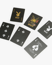 The latest collaboration from HUF x Playboy features a classic set of playing cards. This 52 card deck features custom HUF x Playboy artwork, printed on world-renowned Bicycle playing cards. Keep your gaming classy and bet the house.