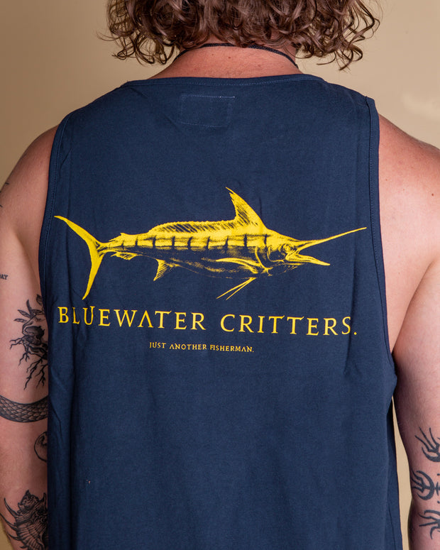 The Just Another Fisherman Bluewater Critters Singlet in Navy