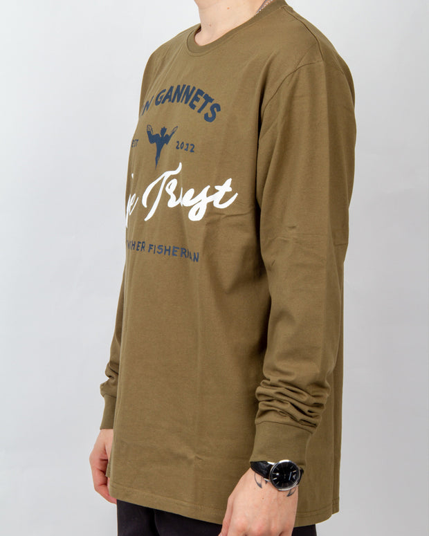 Just Another Fisherman In Gannets We Trust Longsleeve t-shirt in olive