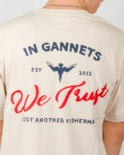 The Just Another Fisherman In Ganets We Trust Tee in washed stone