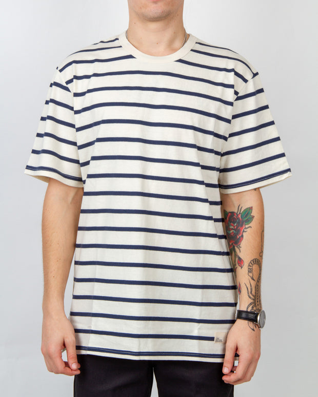 Just Another Fisherman - Sea Stripe Tee - Stone / Navy