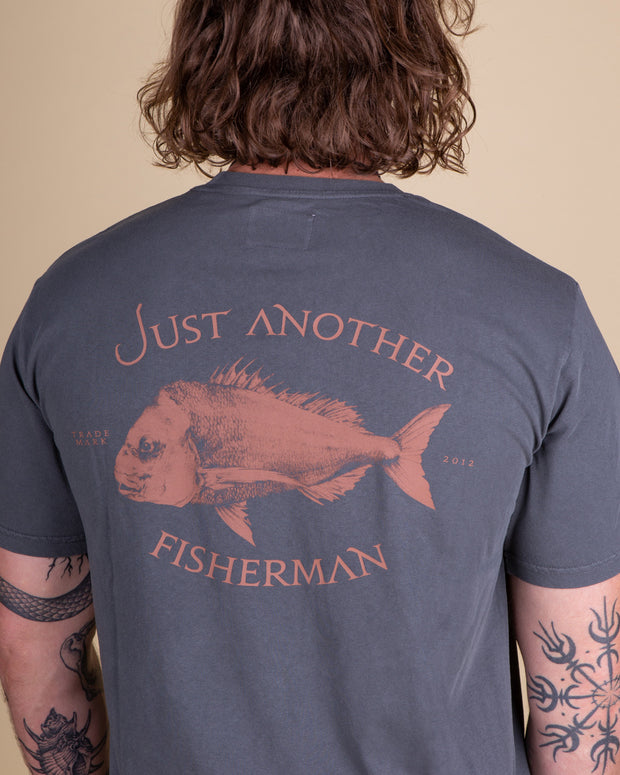 Just Another Fisherman Snapper Logo Tee in Aged Black