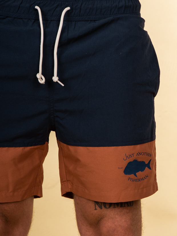 The Just Another Fisherman Snapper Logo Shorts in Navy/Rust
