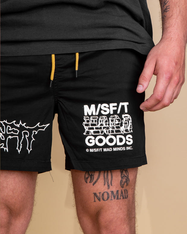The MISFIT Enter Madman Short in Washed black is a summer essential