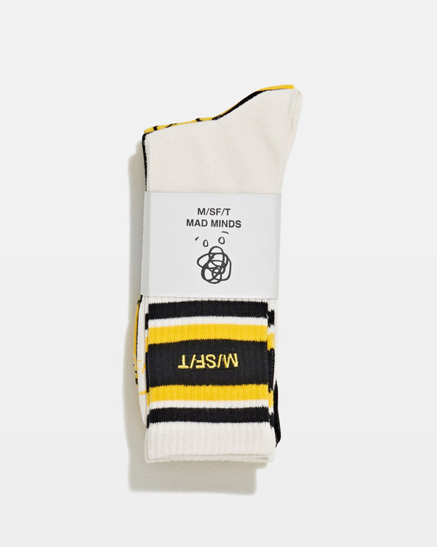 In a yellow, black and white, this three-pack of socks from MISFIT bring some alternative summer style to add a playful touch. Made from a ribbed cotton fabrication, they are styled with branded graphic designs with a MISFIT logo for a signature finish.