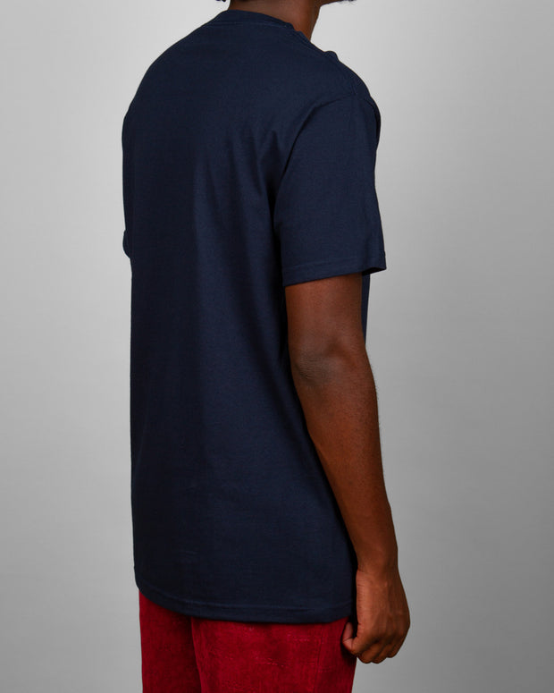 Pass~Port Clothing honours the band of unity with the Intersolid Tee in Navy. Cut from pure cotton, this midweight t-shirt features premium trims and a comfortable ribbed neckline. Stamped with one of the brands most iconic 'International Solidarity' graphic printed on the front. The perfect t-shirt for everyday wear.