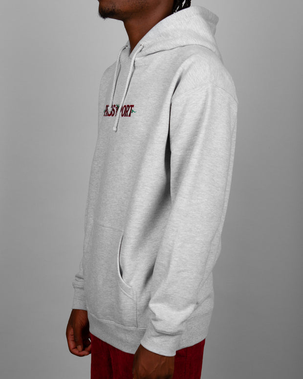 Stock up on your basics with the Life Of Leisure Embroidery Hoodie from PassPort Clothing. This grey heather pullover is fleece-lined and constructed from a premium cotton blend. Featuring a drawstring hood and ribbed trims to keep you snug, this hoodie is finished with an embroidered Pass~Port logo on the front.