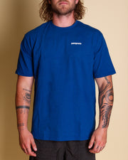 The Patagonia M's P-6 Logo Responsibilli Tee in Superior Blue