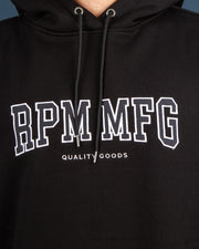 Need a staple hoodie for the colder days? RPM has you covered with the Yale Hood in Black. Constructed from a heavyweight brushed fleece, this black hoodie features an RPM logo embroidered onto the front, followed by a woven label at the side seam. Finished with a comfortable drawstring hood and ribbed trims.