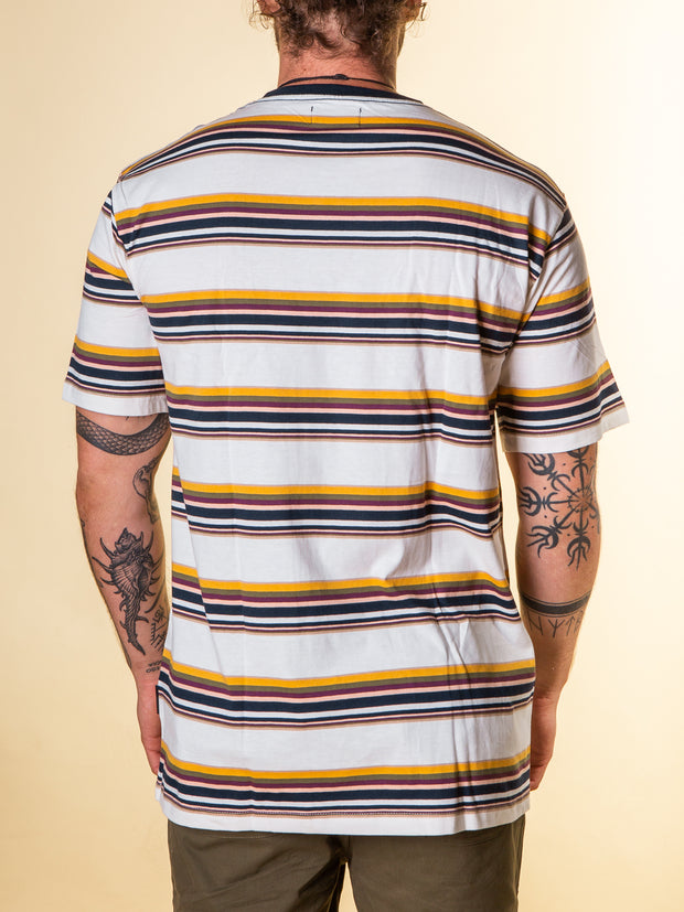 Back view of the stripe tee in multi color by RPM clothing. Standard length tee with stripes of yellow, blue, crimson, olive green all on top of a white based tee.