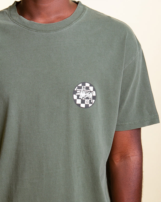 The Stussy Chequer Dot Tee gets an earthy rework with the Pigment Flight Green colourway. Constructed from a premium cotton jersey, this short-sleeve style is cut to a relaxed fit and is signed off with a logo graphic printed on the front and back.