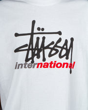 Need a new short sleeve t-shirt in your rotation? The Stussy International Tee in white is made from soft cotton and features a comfortable ribbed neckline. Made in a relaxed fit with a double-stitched hem and short sleeves, this white t-shirt is detailed with a Stussy International graphic on the centre front.