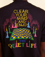 Stepping into a new realm with The Quiet Life Clear Your Mind Tee in Black. This short-sleeve t-shirt takes you on a trip of your own with a custom TQL graphic printed on the front and back. Styled with a relaxed fit, this pure cotton t-shirt is finished with a comfortable ribbed neckline.