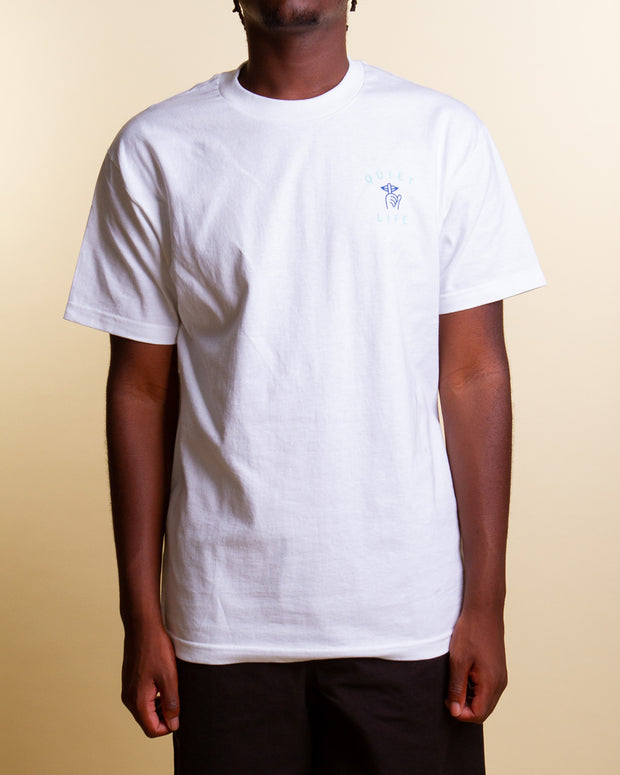 Stay quiet in the Shhh logo t-shirt from The Quiet Life. Constructed from premium cotton, this white t-shirt features the infamous TQL Shhh logo printed on the front and back. Finished with a comfortable neckline, premium trims and a regular fit.