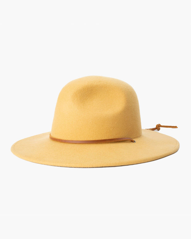 The Tiller III Hat in Honey by Brixton features a brown leather strap and a wide brim.