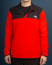 The North Face TKA Glacier Fleece Snap Pullover - Fiery Red