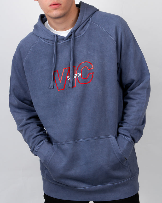 Sports Embroidery Hood - Faded Denim