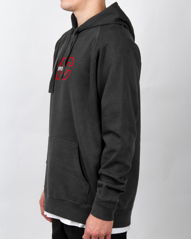 Sports Embroidery Hood - Faded Black