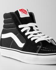 The Vans SK8 Hi in black have hit the Fallen Front shop and are a staple in the footwear collection. These high top vans shoes are a classic from the brand and a big part of the legendary legacy. Constructed from a premium canvas and suede upper with a padded ankle, these shoes are built for skating but have now become the signature street-style sneaker. Of course, these shoes are signed off with the signature waffle outsole and completed with the iconic vans side stripe.