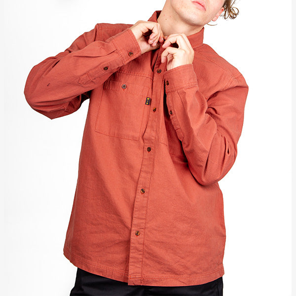 Being Alone LS Shirt - Washed Brick Red