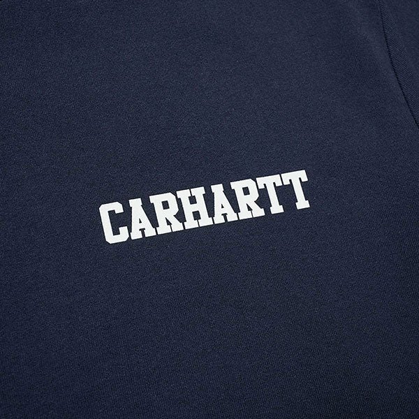College Script Tee - Dark Navy - White