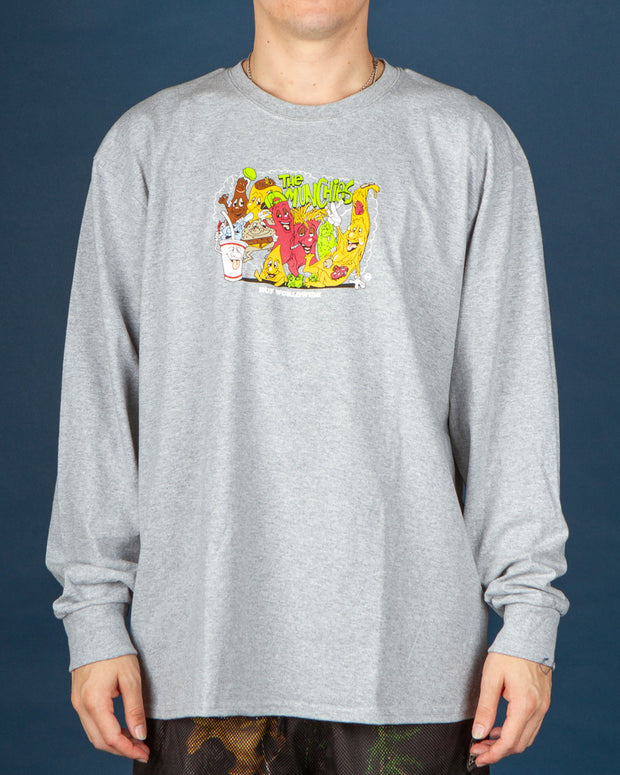 HUF - Munchies LS Tee - Grey Heather