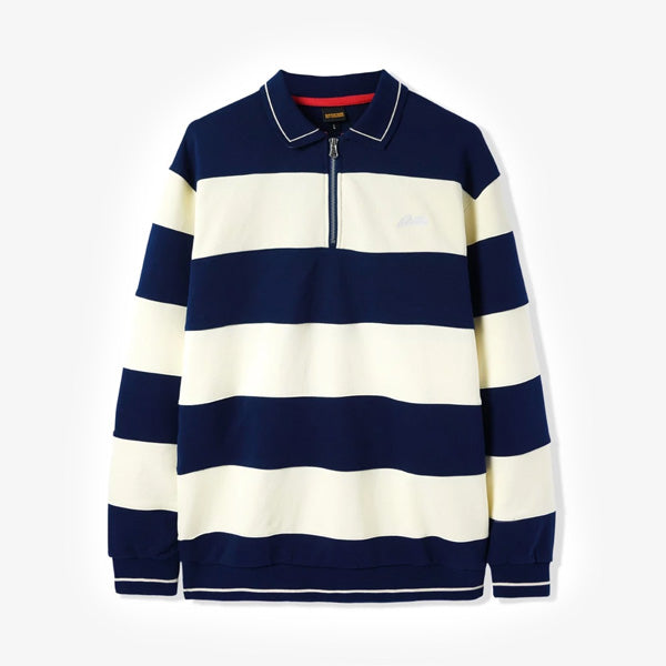 Ivy Stripe 1-4 Zip Pullover - Navy - Bone