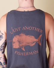 Just Another Fisherman - Snapper Logo Singlet  - Aged Black