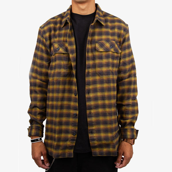 Fjord Flannel L-S Shirt - Castroville - Ink Black
