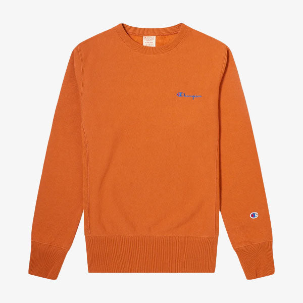 Reverse Weave Mini Script Crew - Burnt Orange