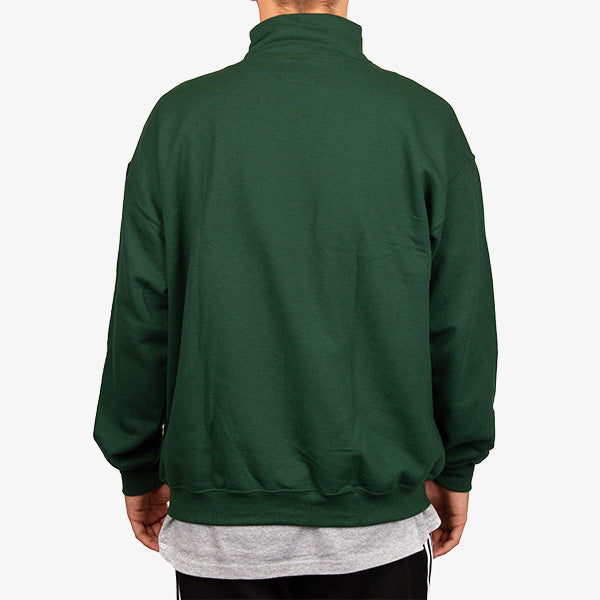 Origin Embroidered Mock Zip  - Hunter Green