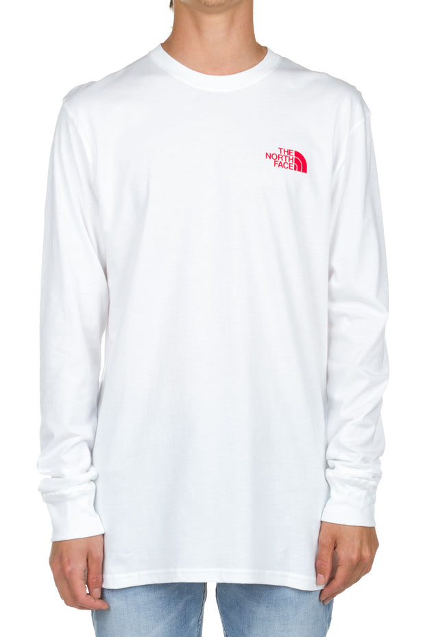 LS Red Box Tee - White - Red