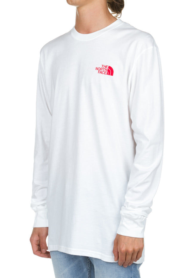 LS Red Box Tee - White - Red The North Face