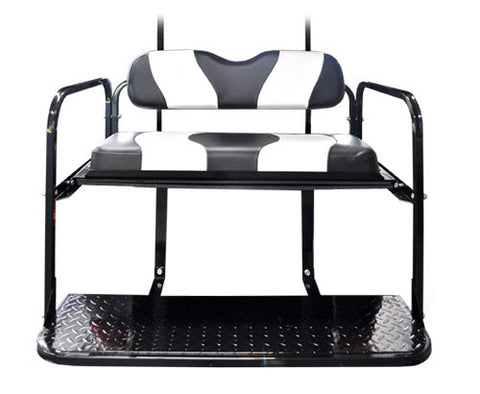 Rear Flip Seat Kit with Black/White Two Done Cushion Set